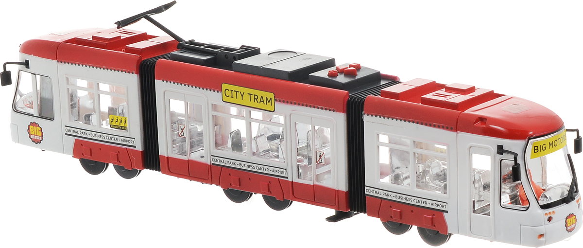Big Motors Городской трамвай цвет красный белый машинки hti паровозик roadsterz синий с вагоном звуковыми и световыми эффектами