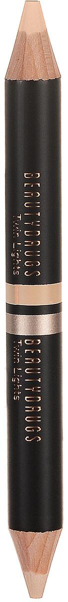 Beautydrugs Twin Lights Двойной карандаш-хайлайтер 01, 2,98 гр00063Двойной хайлайтер для бровей Beautydrugs Twin Lights служит финальным штрихом в макияже, выделяет, подчеркивает изгиб брови, делая ее визуально более четкой, а образ - завершенным. Каждый карандаш имеет два оттенка: матовый и с деликатным шиммером, они используются в зависимости от желаемого эффекта. Матовый хайлатер используется над бровью, чтобы очертить и высветлить эту область. Шиммерный - для областью под бровью, для придания более законченного и гламурного образа. Beautydrugs Twin Lights может использоваться и для расставления световых акцентов на всем лице: в уголках глаз, на спинке носа, на галочке над верхней губой в качестве консилера.