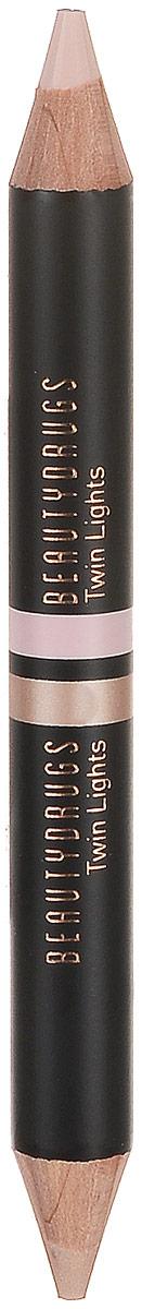 Beautydrugs Twin Lights Двойной карандаш-хайлайтер 02, 2,98 гр00070Двойной хайлайтер для бровей Beautydrugs Twin Lights служит финальным штрихом в макияже, выделяет, подчеркивает изгиб брови, делая ее визуально более четкой, а образ - завершенным. Каждый карандаш имеет два оттенка: матовый и с деликатным шиммером, они используются в зависимости от желаемого эффекта. Матовый хайлатер используется над бровью, чтобы очертить и высветлить эту область. Шиммерный - для областью под бровью, для придания более законченного и гламурного образа. Beautydrugs Twin Lights может использоваться и для расставления световых акцентов на всем лице: в уголках глаз, на спинке носа, на галочке над верхней губой в качестве консилера.