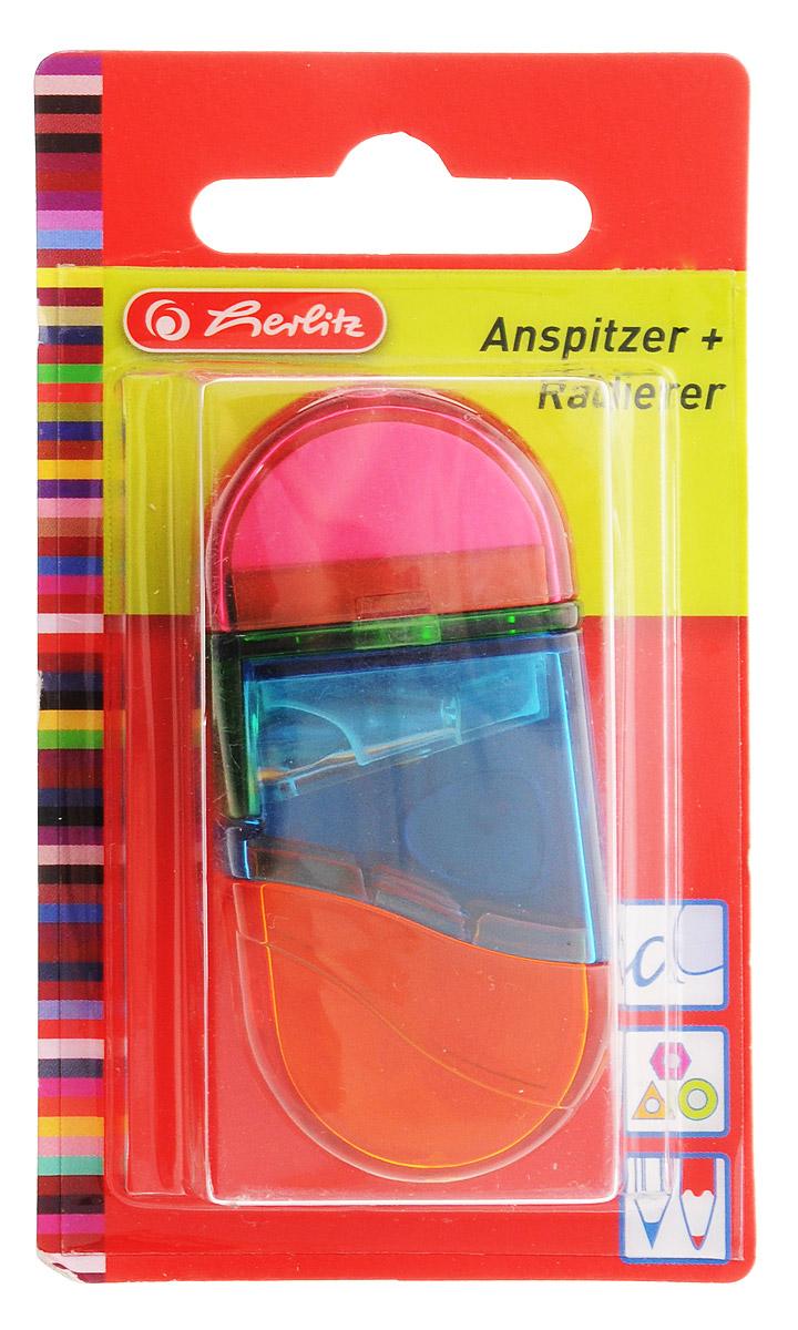 Herlitz Точилка с контейнером и ластиком цвет розовый синий желтый10198612_розовый/синий/желтыйТочилка Herlitzс контейнером для стружек и ластиком выполнена в прозрачном пластиковом корпусе ипредназначена для заточки карандашей диаметром 8 мм. Металлическое лезвие высокого качества быстрозаточит любой карандаш. Ластик изготовлен из термопластичного каучука и хорошо стирает линии.