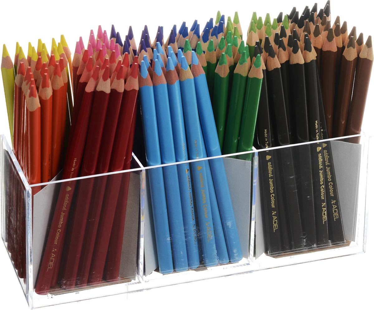 Adel Набор цветных карандашей Adeland Jumbo 144 шт211-7510-100Набор цветных карандашей Adel Adeland Jumbo создан специально для маленьких детских ручек. Эргономичнаятрехгранная форма позволяет рисовать ими в течение долгого времени не ощущая усталости. Набор состоит из144 легко затачиваемых карандашей 12 ярких цветов. В комплект входит также пластиковая подставка дляхранения карандашей.Коробка оформлена изображением персонажаHiro из турецкого мультфильма RenkKoruyuculari. Не рекомендуется детям до 3-х лет.