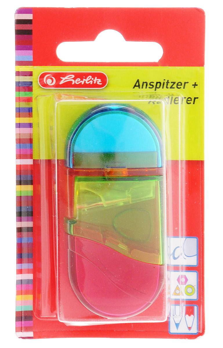 Herlitz Точилка с контейнером и ластиком цвет голубой зеленый красный10198612_голубой/зеленый/красныйТочилка Herlitz - качественная простая точилка с контейнером для стружек и ластиком. Точилка выполнена в прозрачном пластиковом корпусе и предназначена для заточки карандашей любой формы диаметром 8 мм.Металлическое лезвие высокого качества быстро заточит любой карандаш. Ластик изготовлен из термопластичного каучука и хорошо стирает линии.Такой набор от Herlitz будет помощником для вас в любом проектном или учебном деле.