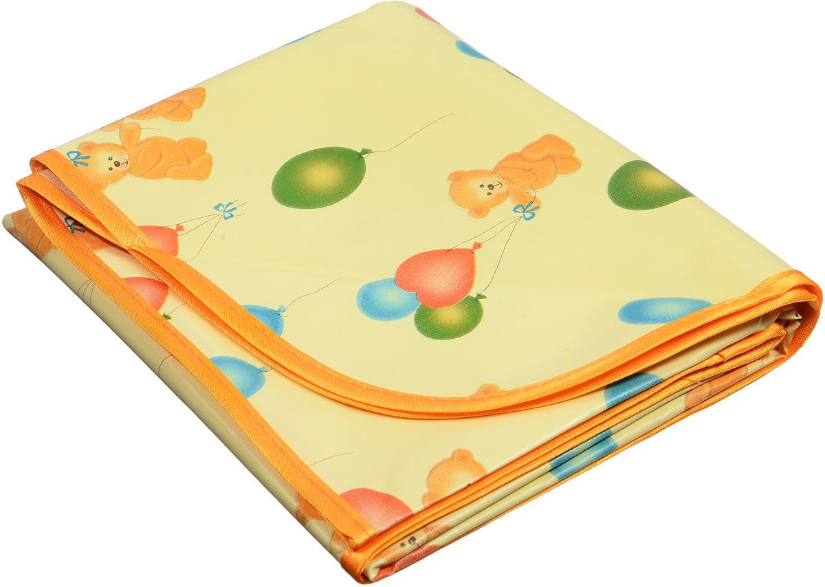 Колорит Клеенка подкладная с резинками-держателями цвет желтый, оранжевый 70 х 100 см