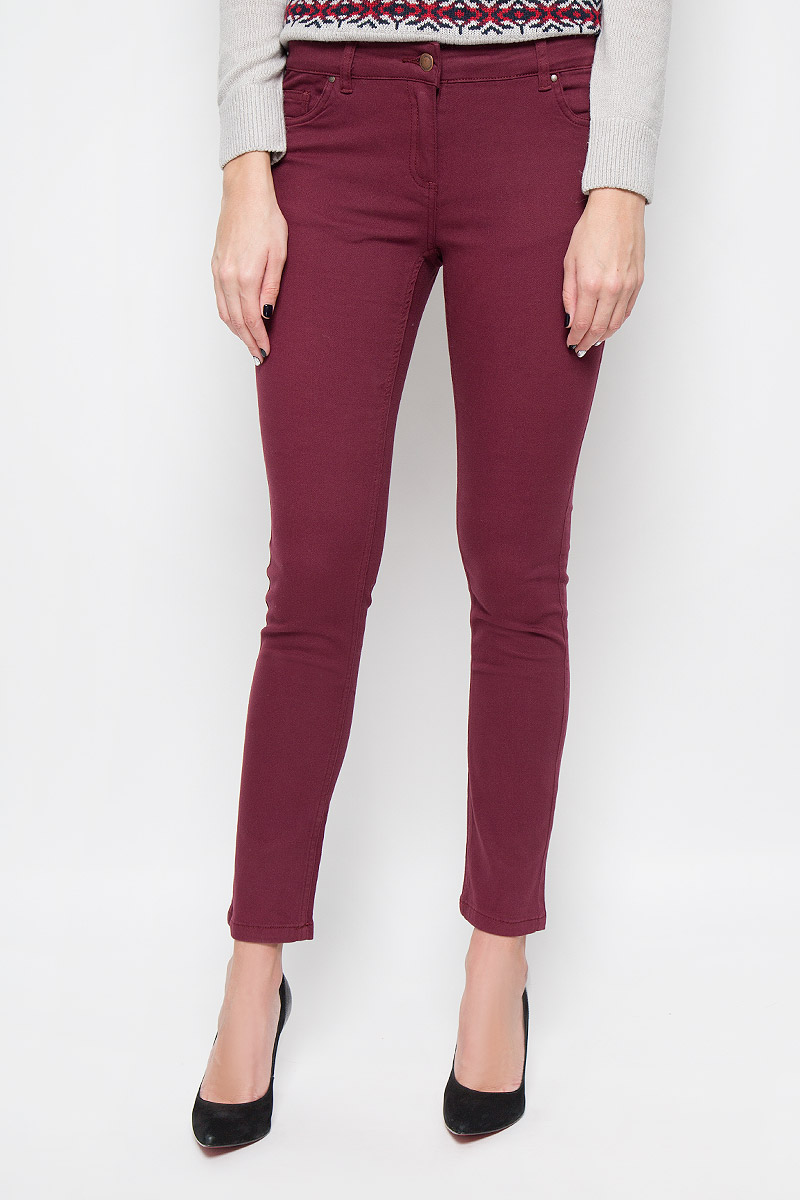 Купить Брюки женские Sela Casual, цвет: бордовый. P-115/762-6393. Размер S (44)