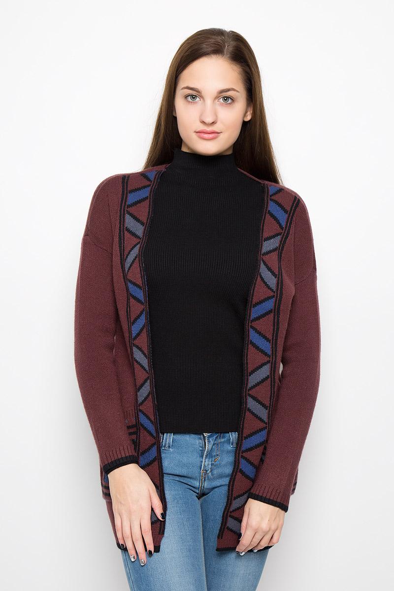 Кардиган женский Vero Moda, цвет: темно-коричневый. 10161248. Размер S (42) vero moda свитер с длинными рукавами