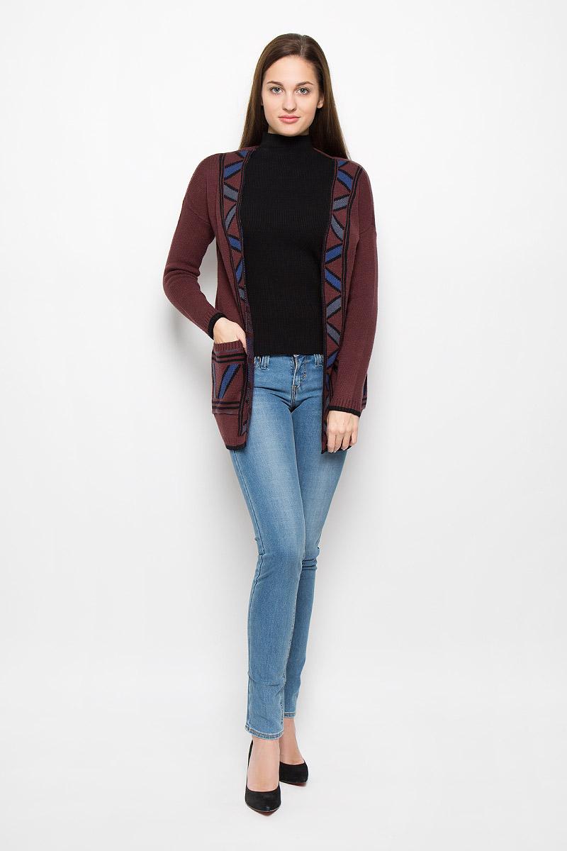 Купить Кардиган женский Vero Moda, цвет: темно-коричневый. 10161248. Размер S (42)