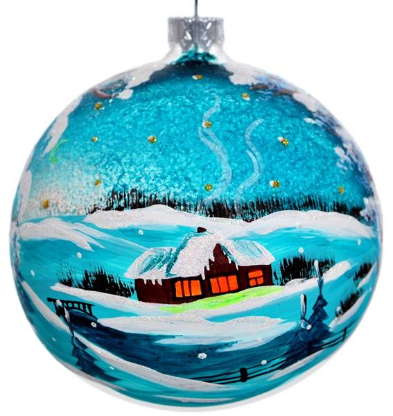 Новогоднее подвесное украшение Голубой пейзаж на закате, диаметр 10 см. Ручная роспись. H-100-4647-N41730Стеклянная елочная игрушка - Шар Голубой пейзаж на закате диаметром 100 мм. Ручная роспись. Упакован в подарочную коробку + защитный гофрокороб.