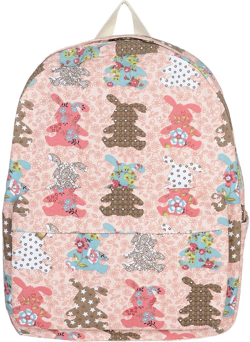 Рюкзак женский Kawaii Factory Зайцы, цвет: персиковый, коричневый, голубой. KW102-000247