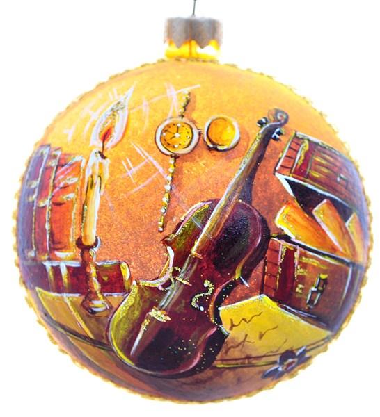 Новогоднее подвесное украшение Ноктюрн, диаметр 10 см. Ручная роспись. H-100-28154-NH-100-28154-N-НоктюрнСтеклянная елочная игрушка - Шар Ноктюрн диаметром 100 мм. Ручная роспись. Упакован в подарочную коробку + защитный гофрокороб.