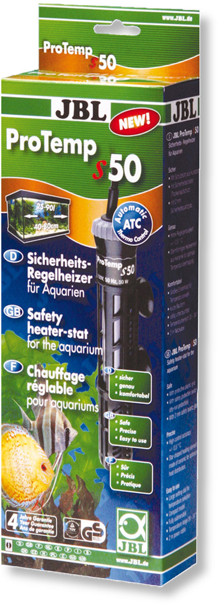 Нагреватель для аквариума JBL ProTemp S, с терморегулятором, 50 ВтJBL6042200Нагреватель JBL ProTemp S обеспечивает высокую точность поддержания заданной температуры. Идеальная передача температуры за счет нагревательного элемента из керамики. Полностью погружной. Ударопрочный корпус, выполненный из высококачественного стекла, обеспечивает нагревателю долгий срок эксплуатации. Нагреватель оснащен терморегулятором со шкалой температуры. Пластиковый кожух защитит рыб от ожогов. Крепится при помощи двух присосок. Автоматическое отключение нагревателя при понижении уровня воды или при его извлечении.Мощность: 50 Вт.Температура: 20-34°С.Рекомендуемый объем аквариума: 25-90 л.Напряжение: 220-240В.Частота: 50/60 Гц.Длина нагревателя: 21,5 см.
