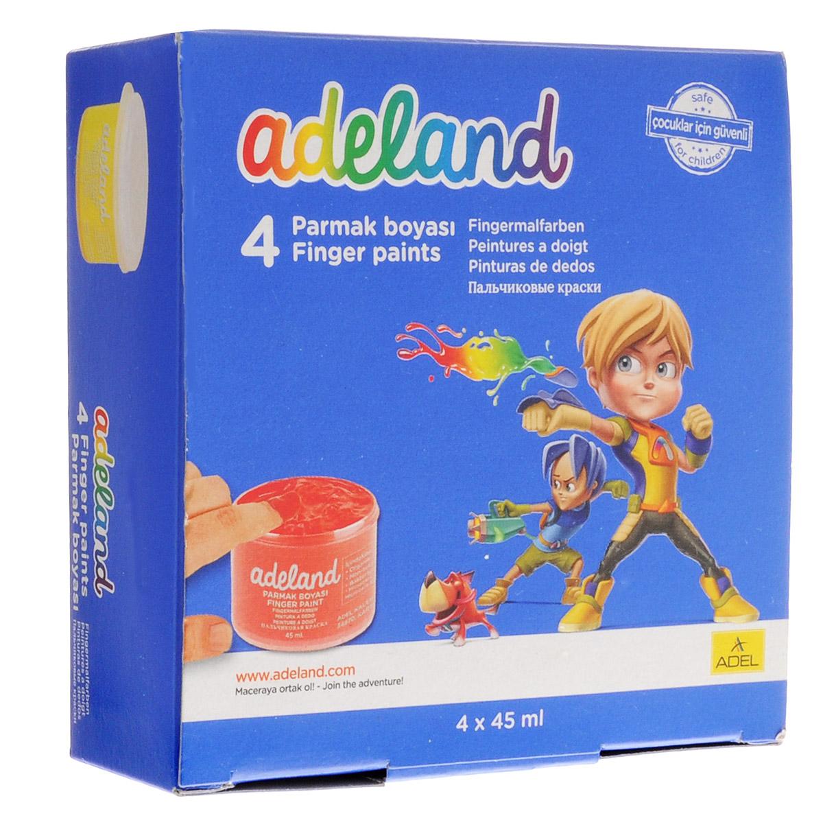 Adel Краски пальчиковые Adeland 4 цвета234-0630-100Водорастворимые яркие краски Adel Adeland предназначены для рисования пальцами, кисточкой или губкой на бумаге и картоне.Путемсмешивания красок может получится неограниченное количество тонов. Краски упакованы в картонную коробку и находятся в пластиковыхбаночках.В комплект входит 4 насыщенных цвета: желтый, красный, синий, зеленый.