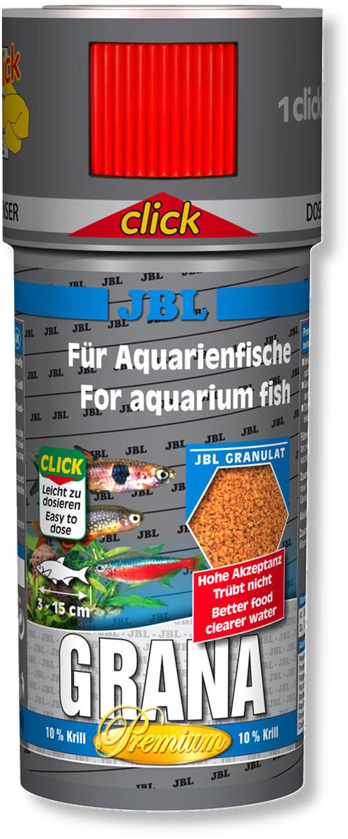 Корм JBL Grana Click для небольших рыб, в форме гранул, 100 мл (43 г)JBL4064600Корм JBL Grana Click представляет собой гранулированный, богатый питательными элементами, медленно опускающийся на дно корм для всех аквариумных рыб. Гранулы опускаются под воду с различной скоростью, что позволяет кормить рыб, обитающих в разных слоях аквариума. Высокое содержание питательных элементов и легкая перевариваемость способствуют быстрому насыщению крупных рыб при минимальной нагрузке на воду. Жизненно важные витамины улучшают здоровье и повышают иммунитет. Теперь корм JBL Grana Click поставляется в банке с дозатором для точного дозирования гранул. Содержит 10% криля. Рекомендации по кормлению: несколько раз в день небольшими порциями, которые могут быть съедены за несколько минут. Корм для рыб длиной от 3 до 15 см. Состав: белки 45%, жиры 6%, клетчатка 5%, зола 9,5%, витамин А 25000 I.E., витамин D3 2000 I.E., витамин Е 300 мг., витамин C 200 мг., злаки 25,53%, рыба и рыбные побочные продукты 19,64%, моллюски и ракообразные 17,19%, растительные побочные продукты 12,52%, овощи 12,28%, экстракты растительного белка 9,82%, масла и жиры 1,96%. Вес: 43 г.Товар сертифицирован.