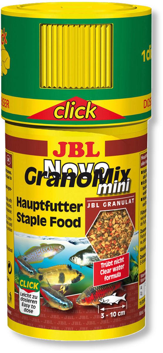 Корм JBL NovoGranoMix mini для маленьких рыб, в форме смеси мини-гранул, 100 мл (42 г)JBL3010000Корм для рыб JBL NovoGranoMix mini представляет собой гранулы с высоким содержанием питательных элементов, изготовленные по щадящей технологии с использованием кратковременного высокотемпературного нагревания. Часть гранул медленно погружается под воду, а часть некоторое время плавает на поверхности. Это дает возможность кормить рыб, находящихся в различных зонах аквариума. Четко выверенная комбинация из всех важных компонентов, таких как белки, жиры и углеводы, а также жизненно важные минералы и витамины обеспечивают здоровый рост и повышенную сопротивляемость болезням. Крышка с мини-дозатором может быть просто навинчена на банку.Рекомендации по кормлению: два или три раза в день порциями, которые могут быть съедены рыбами в течение нескольких минут. Мальков естественно чаще. Замечательно подходит для автоматических кормушек. Идеальный размер корма для рыб от 3 до 10 см.Состав: белок 38%, жир 6%, клетчатка 4%, зола 9%, фосфор 0,9%. Содержание витаминов в 1000 г: втамин А 25000 i.E., витамин D3 3000 i.E., витамин Е 330 мг., витамин С 400 мг. Вес: 42 г. Товар сертифицирован.
