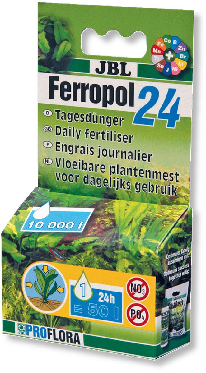 Удобрение для аквариумных растений JBL Ferropol 24, комплексное, 10 мл (10,16 г)JBL2018000Удобрение для аквариумных растений JBL Ferropol 24 содержит все чувствительные микроэлементы и другие важные вещества. Только ежедневное внесение этих веществ обеспечивает великолепное процветание всех аквариумных растений. Многие жизненно важные микроэлементы не могут вноситься про запас, так как они очень чувствительны и в аквариумной среде очень быстро входят в другие соединения, исчезая или становясь недосягаемыми для растений. Вместе с базисными удобрениями все аквариумные растения оптимально обеспечиваются минеральными питательными веществами и микроэлементами. Дополнительно рекомендуется внесение СО2. Не содержит фосфаты и нитраты, благоприятные для роста водорослей.Применение: ежедневно после включения освещения одну каплю JBL Ferropol 24 на 50 л. аквариумной воды. В особых случаях при повышенной потребности рекомендуется 2 капли на 50 л. Особыми случаями могут быть: быстро растущие растения, яркое освещение, красные растения, сильная фильтрация, применение систем СО2.Товар сертифицирован.