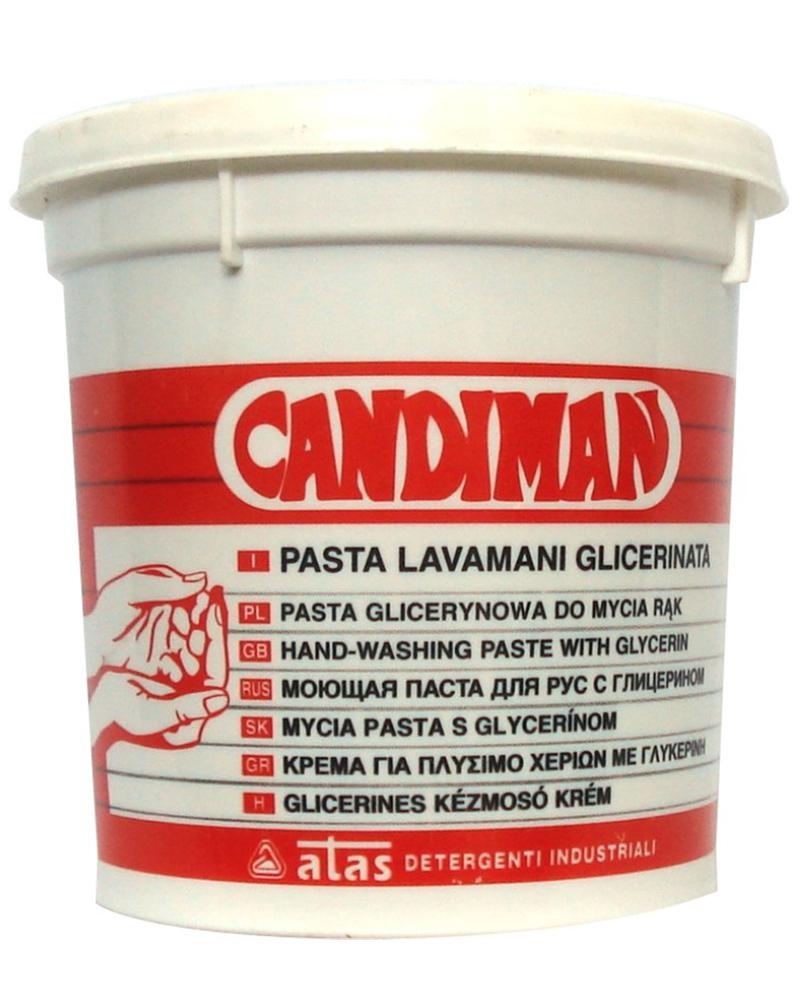 Паста для очистки рук от смазки, жира, краски и чернил Atas Candiman, 1 кг721Абразивная паста с высокой эмульгируещей способностью, которые быстро удаляют жирные, маслянистые, чернильные пятна с кожи рук.