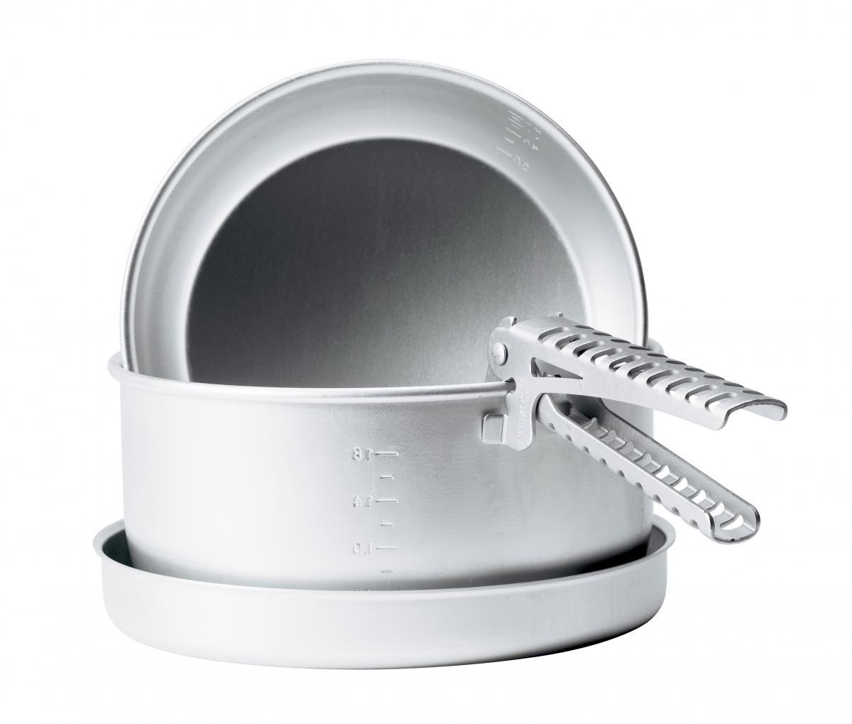 Набор посуды Primus Classic Set, цвет: серый, 2,19 л732340Алюминиевая посуда с двумя градуированными внутри кастрюлями объемом 1,7 л и 2,1 л, сковородой и держателем.Размер, см: 202x97Объем, л: 1.7 / 2.1Вес, г: 460
