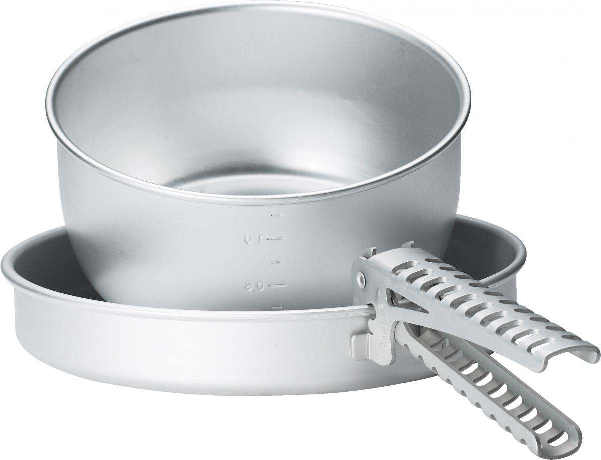 Набор посуды Primus Classic Mini Set, цвет: серый, 3 предмета732690Набор алюминиевой посуды Primus Classic Mini Set, состоит из одной кастрюли (объемом 1,4 л.), сковороды, которая может служить крышкой для кастрюли и съемной ручки.