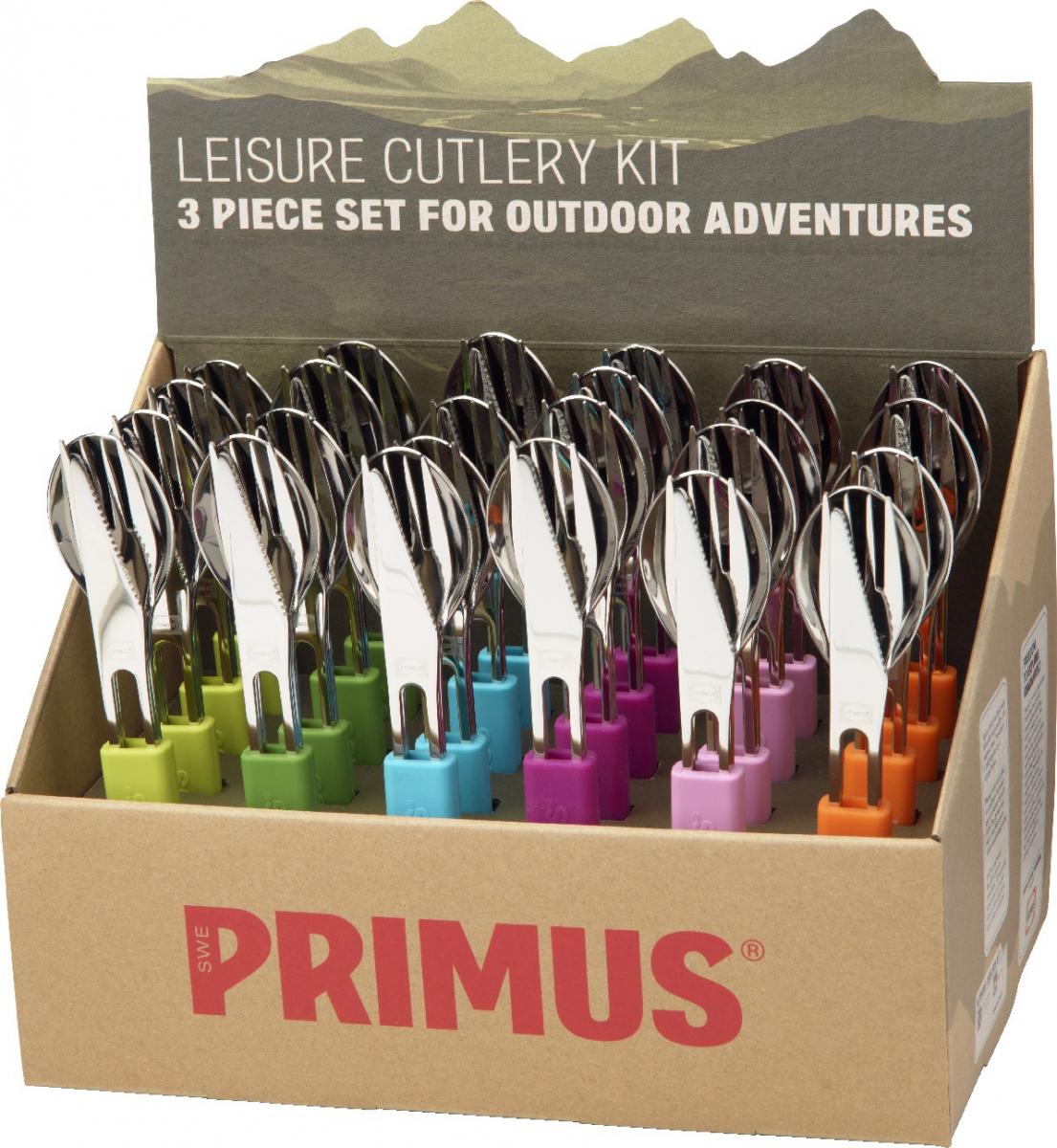 Набор столовых приборов Primus Leisure Cutlery, 72 предмета735440Столовые приборы Primus Leisure Cutlery выполнены из высококачественной нержавеющей стали.Набор включает в себя ложки, вилки и ножи. Этот компактный набор подойдет всем, ктопутешествует, ходит в походы, отдыхает в кемпинге.Фиксатор из разноцветного силикона удерживает предметы вместе. Предметы удобно лежат вруке и имеют легкий вес.В комплект входят 24 набора по три предмета в каждом.