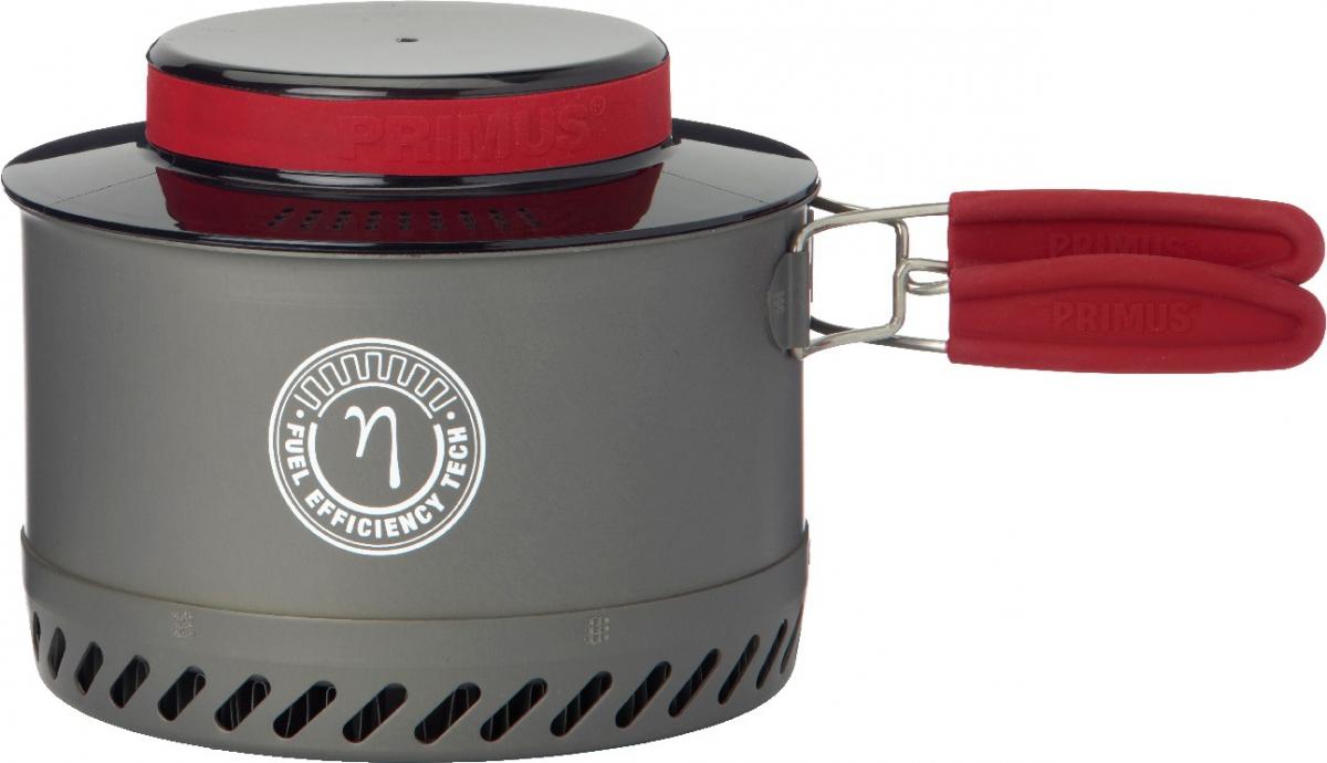 Котелок Primus PrimeTech Pot, цвет: серый, 1,8 л737935Кастрюля Primus PrimeTech Pot - новый туристический котелок с эргономичными складными ручками, с теплообменником и термостойкой пластиковой крышкой. Теплообменник эффективно использует тепло пламени горелки и значительно уменьшает время закипания воды. Крышку можно использовать в качестве дуршлага. Котел выполнен из анодированного алюминия, внутри - прочное антипригарное керамическое покрытие. В комплекте также - пластиковая миска (размещается внутри) и транспортировочный мешочек из сетки.