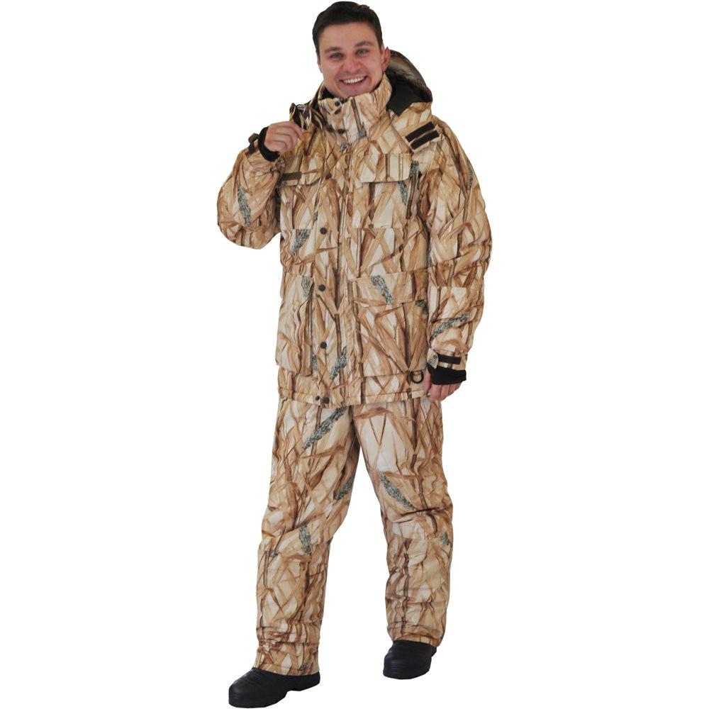 Костюм рыболовный мужской HunterMan Nova Tour Сарвет, цвет: камыш. 95862-703. Размер XL (54)95862-703Теплый и непродуваемый костюм для охоты и рыбалки зимой! Непродуваемая ткань поможет с комфортом заниматься любимым делом даже в сильный мороз, а большое количество специальных карманов для специальных вещей и теплые карманов для рук - сделает времяпрепровождение еще более комфортной! Не забывайте правильно одеваться, чтобы не замерзнуть в сильный мороз одевайте под костюм комплект из флиса и теплого термобелья! Проклеенные швы, регулируемый капюшон, боковые расширители, внутренние манжеты, анатомический крой рукава, ветрозащитная юбка, анатомический крой в области колена, двухзамковая молния.Влагостойкость 5 000 мм. Паропроницаемость 5 000 мл./м.кв./24часа.