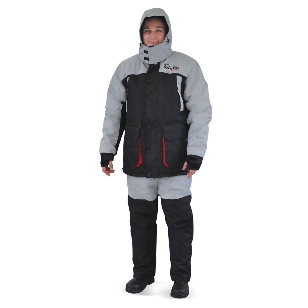 Костюм рыболовный мужской FisherMan Nova Tour Хито, цвет: черный, серый. 95861-966. Размер XXXXL (60)95861-966Теплый и непродуваемый костюм для зимней рыбалки поможет с комфортом рыбачить в сильный мороз! А большое количество специальных карманов для приманок, живой наживки, специальных теплых карманов для рук - сделает рыбалку еще более комфортной! Не забывайте правильно одеваться на рыбалку, чтобы не замерзнуть в сильный мороз одевайте под костюм комплект из флиса и теплого термобелья! Проклеенные швы, внутренние манжеты, анатомический крой рукава, кольцо для перчаток.Влагостойкость 3 000 мм.Паропроницаемость 3 000 - мл./м.кв./24часа.