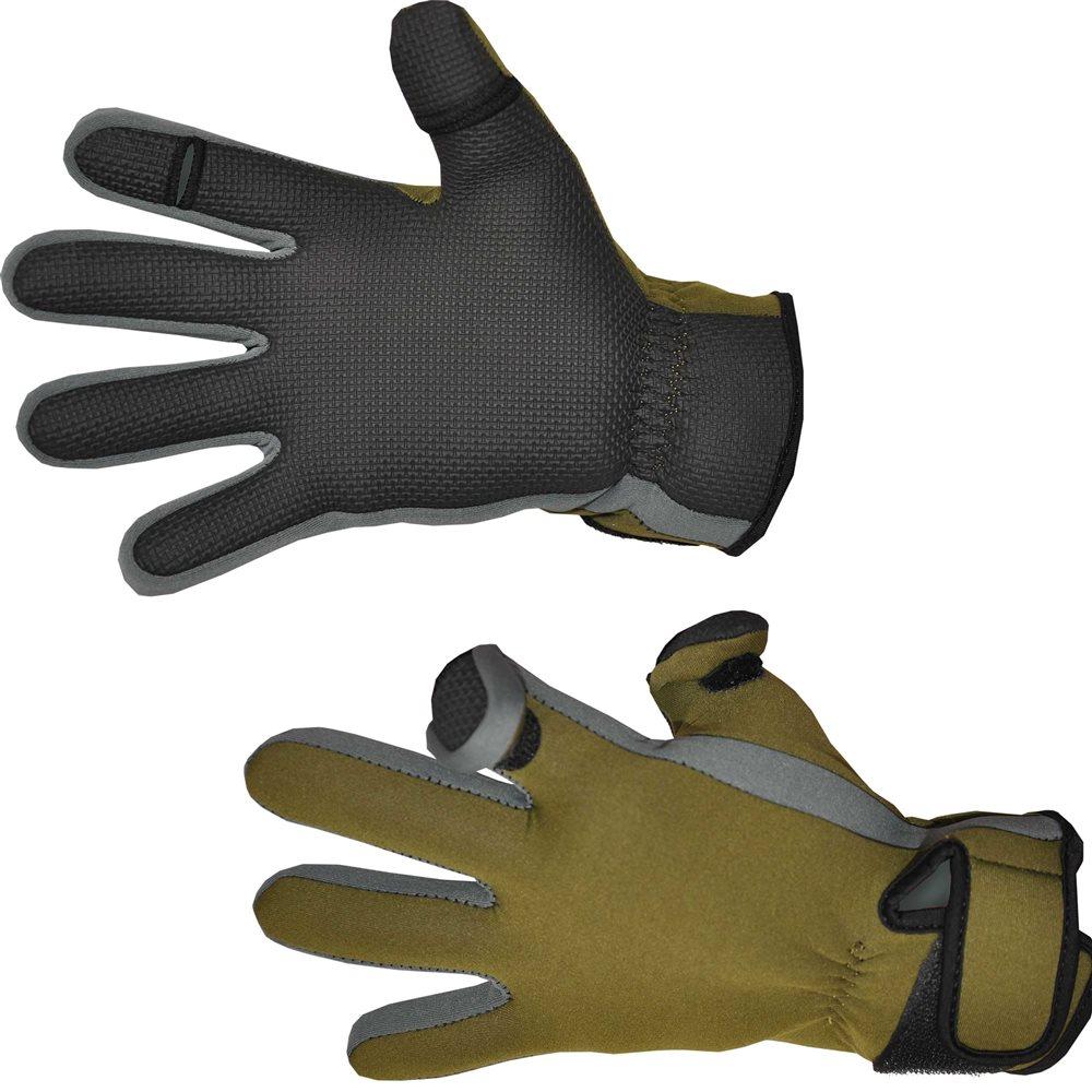 """Комфортная рыбалка в ветер, дождь и даже не сильный мороз - это просто! С перчатками от Nova Tour """"Грэб"""" вы сможете наслаждаться рыбалкой в любую погоду.Изготовленные из плотного и прочного к разрывам неопрена, эти перчатки надежно предохраняют руки рыболова от влаги, не позволяя ей просочиться сквозь губчатый материал. С внутренней стороны, на ладони, имеется рифленая прорезиненная накладка, которая, усиливает конструкцию на предмет водонепроницаемости, значительно повышает трение. То есть любой захват в такой перчатке получается надежным и крепким, неважно, держит рыболов в руках спиннинг или поднимает склизкую рыбу.Также на этих  перчатках имеются плотные манжеты, обеспечивающие максимально близкое к коже прилегание, благодаря утягивающей застежке на липучке. На пальцах перчаток продуманы откидывающиеся клапаны, обнажающие большой и указательный пальцы. Соответственно, все тонкие манипуляции с оснасткой значительно упрощаются, ведь чувствительность кончиков пальцев значительно выше. Клапаны надежно крепятся при помощи липучек на тыльной стороне перчаток."""