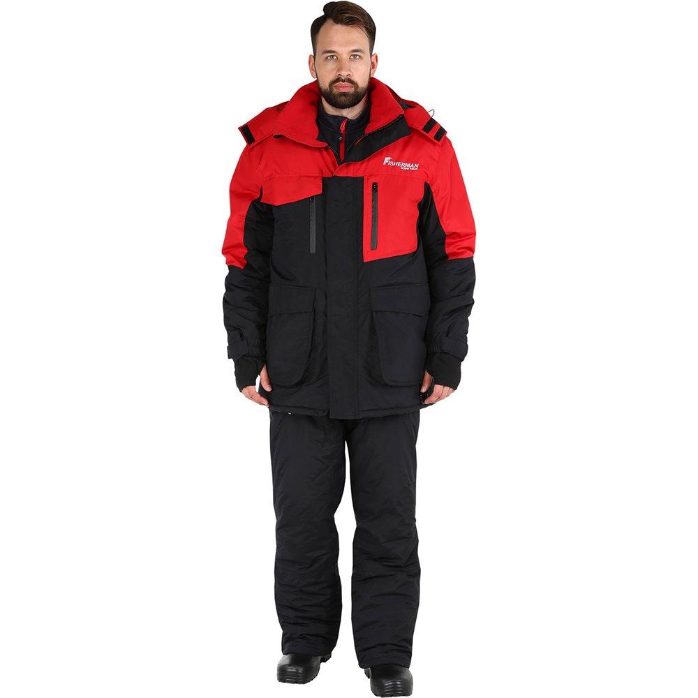 Костюм рыболовный мужской FisherMan Nova Tour Таймень, цвет: черный, красный. 95636-054. Размер L (52)95636-054Практичный и надежный костюм для зимней рыбалки. Куртка имеет флисовую подкладку и ветрозащитную юбку. Используется беспоровая мембрана Hipora 5000/5000. Проклеенные швы, регулируемый капюшон, накладные карманы с люверсами, эластичная боковая вставка, снегозащитная муфта, боковые расширители, внутренние манжеты, регулировка ширины низа брюк, анатомический крой рукава, ветрозащитная юбка, анатомический крой в области колена, воротник-стойка, кольцо для перчаток, двухзамковая молния.