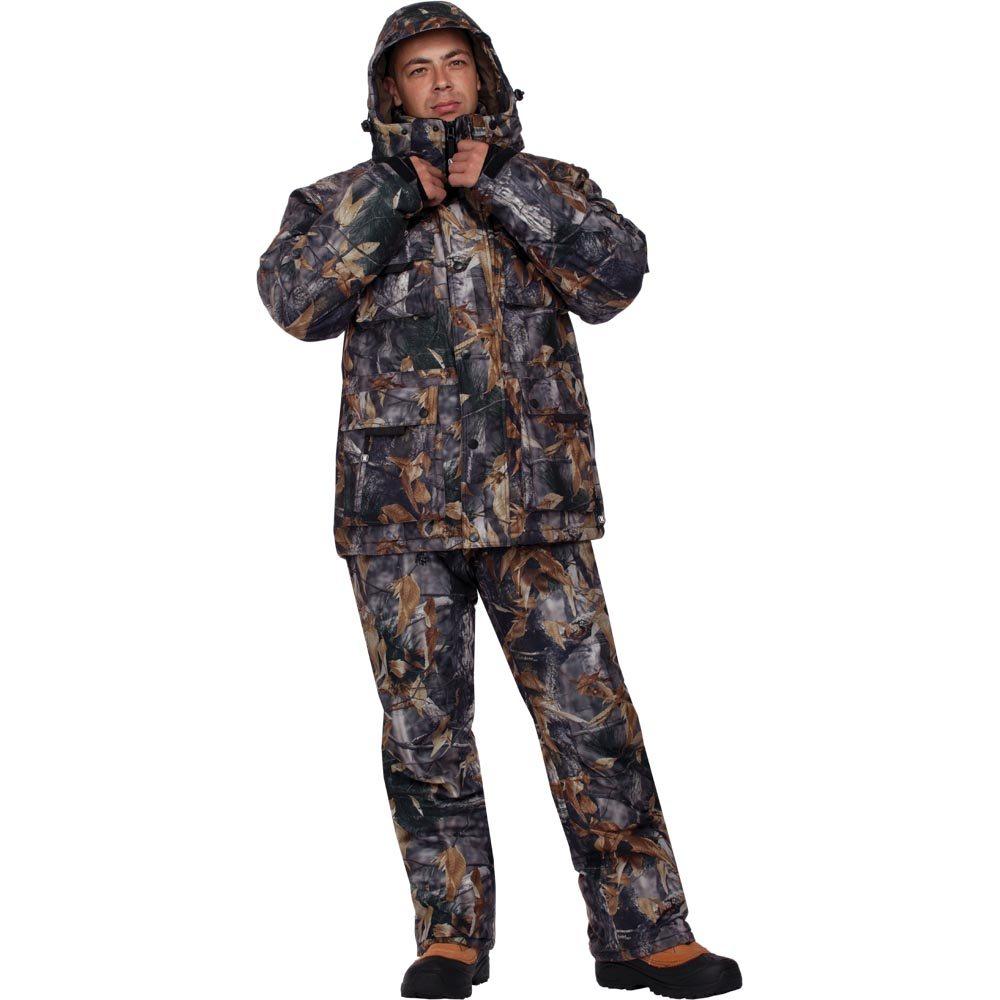 Костюм мужской охотничий HunterMan Nova Tour Форест V2, цвет: лес. 47013-715. Размер S (50)47013-715Очень теплый зимний костюм для охоты из нешуршащей ткани. Состоит из куртки и полукомбинезона. Утеплитель Termo MAX. Воротник-стойка утеплен Polar Fleece. Теплый капюшон, внутренние трикотажные манжеты, девять внешних карманов. Полукомбинезон с высокой спинкой, утеплен Polar Fleece, на поясе шлевки под широкий ремень, пять карманов. Анатомический крой в области колена. Используется беспоровая мембрана Hipora 5000/5000.