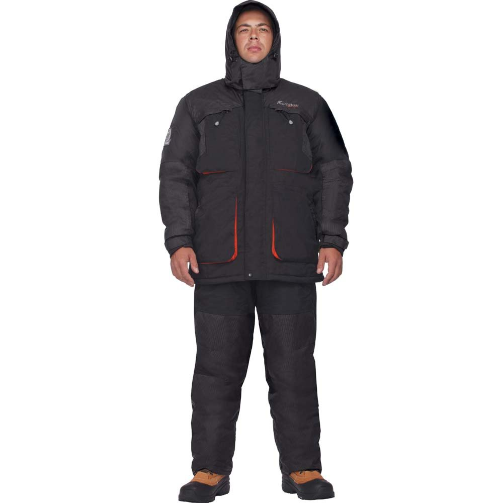 Костюм мужской рыболовный FisherMan Nova Tour Драйв, цвет: черный. 46173-901. Размер S (50)46173-901Костюм адаптирован для рыбалки и езды на снегоходах.Теплый костюм состоящий из куртки и полукомбинезона. Куртка с центральной двузамковой молнией. Восемь внешних карманов: четыре – утепленные грузовые, четыре прорезных с влагозащитными молниями. Анатомический крой рукава, внутренние трикотажные манжеты. Регулируемый капюшон с жестким козырьком. Ветрозащитная юбка. Полукомбинезон с анатомическим кроем в области колен. Эластичная боковая вставка на талии; два нагрудных кармана, два кармана в области бедер, с влагозащитной молнией. Усиление в области колен и задней части. Снегозащитная муфта. Ткань с мембраной, специальный утеплитель Termo MAX. Проклеенные швы.Ткань с мембраной - используется беспоровая мембрана Hipora 10000/10000.