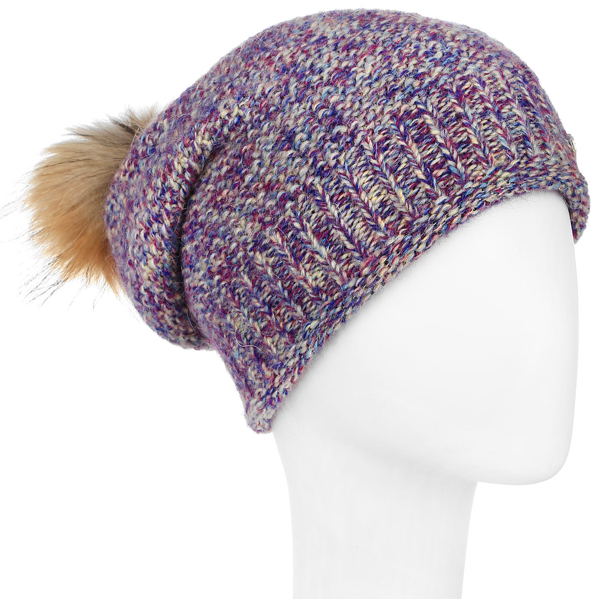 Шапка женская Dispacci, цвет: фиолетовый, мультиколор. 21118M. Размер универсальный21118MСтильная женская шапка Dispacci, изготовленная из мягкой пряжи смешанного состава, она обладает хорошими дышащими свойствами и хорошо удерживает тепло. Благодаря использованию фантазийной итальянской пряжи, шапка имеет красивые цветовые переходы, что создает впечатление легкости и изящества. На макушке изделие дополнено помпоном из натурального меха. Практичная форма шапки делает ее очень комфортной, а маленькая аккуратная металлическая пластина с названием бренда подчеркивает ее оригинальность.