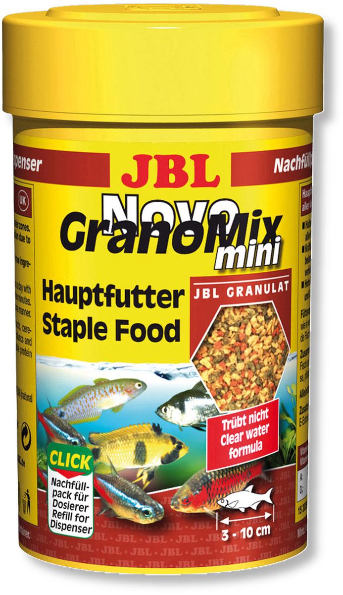 Корм JBL NovoGranoMix mini Refill для маленьких рыб, в форме смеси мини-гранул, 100 мл (42 г)JBL3009900Корм JBL NovoGranoMix mini Refill в форме смеси для маленьких аквариумных рыб. Корм представляет собой гранулы с высоким содержанием питательных элементов, изготовленные по щадящей технологии с использованием кратковременного высокотемпературного нагревания. Часть гранул медленно погружается под воду, а часть некоторое время плавает на поверхности. Это дает возможность кормить рыб, находящихся в различных зонах аквариума. Четко выверенная комбинация из всех важных компонентов, таких как белки, жиры и углеводы, а также жизненно важные минералы и витамины обеспечивают здоровый рост и повышенную сопротивляемость болезням. Замечательно подходит для автоматических кормушек. Технология быстрой высокотемпературной обработки делает корм легко усваиваемым, что уменьшает загрязнение воды. Идеальный размер корма для рыб от 3 до 10 см. Рекомендации по кормлению: два или три раза в день порциями, которые могут быть съедены рыбами в течение нескольких минут. Мальков естественно чаще. Состав: растительные побочные продукты 20,60%, злаки 20,30%, рыба и рыбные побочные продукты 18,10%, моллюски и ракообразные 15,10%, овощи 14%, экстракты растительного белка 7,40%, водоросли 1,5%, масла и жиры 1,4%, белок 38%, жир 6%, клетчатка 4%, зола 9%, фосфор 0,9%.Содержание витаминов в 1000 г.: витамин А 25000 i.E., витамин D3 3000 i.E., витамин Е 330 мг., витамин С 400 мг. Вес: 42 г. Товар сертифицирован.