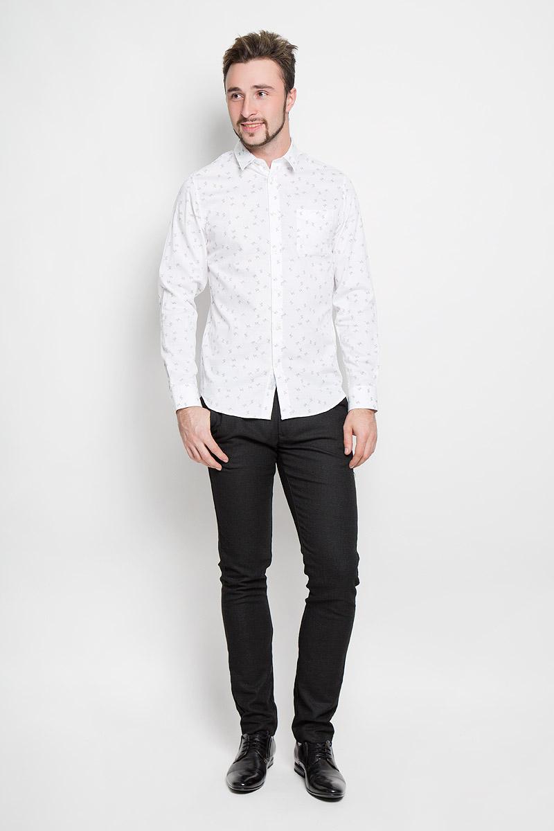 Рубашка мужская Selected Homme, цвет: молочный. 16052143. Размер XXL (52) водолазка мужская selected homme identity цвет молочный 16052854 размер xl 50