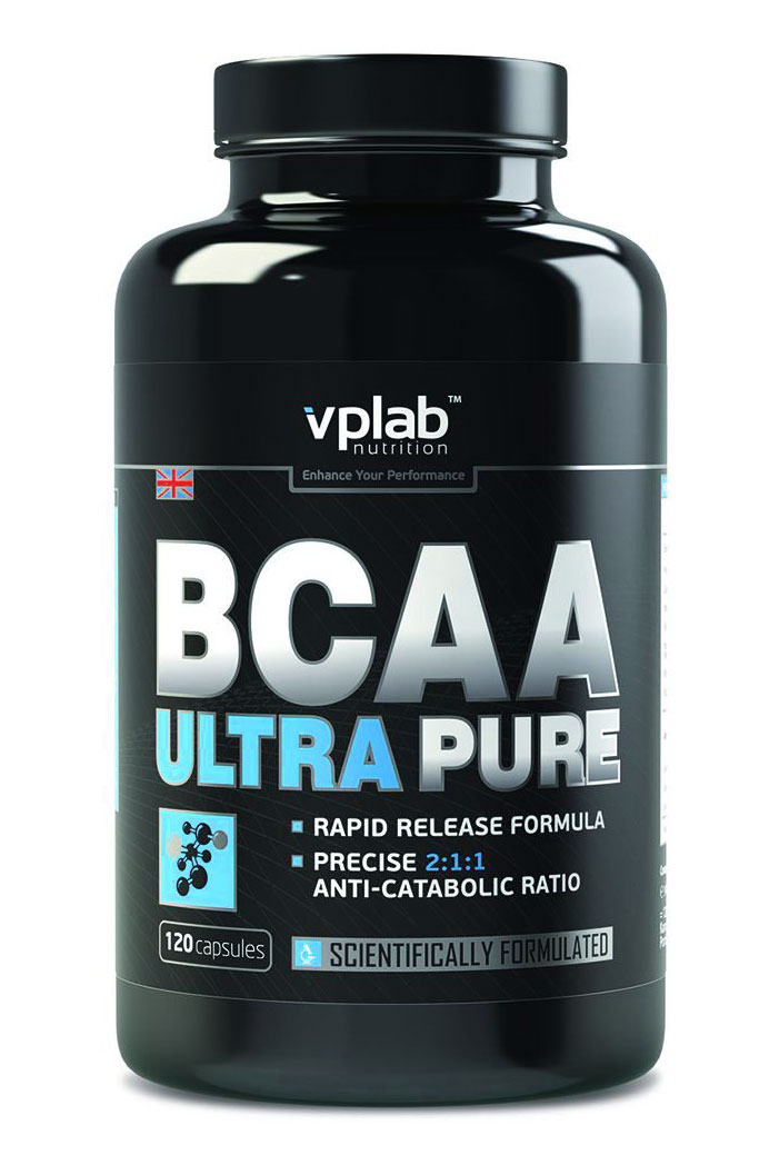Аминокислоты VPLab BCAA Ultra Pure, 120 капсулV2356Важной отличительной чертой аминокислот VPLab BCAA Ultra Pure являются их ярко выраженные антикатаболические свойства, они препятствуют снижению уровня белка в организме. Наилучшее антикатаболическое соотношение лейцин - изолейцин - валин 2:1:1 останавливает процессы разрушения мышц, помогает сохранить физическую форму и увеличить работоспособность.Питательная ценность на 100 г: энергетическая ценность - 393,8 ккал (1,646,1 кдж), белки - 97,3 г, углеводы - 0,1 г, из которых сахара - 0, жиры - 0,5 г, из них насыщенные жирные кислоты - 0,5 г, L-лейцин - 42 г, L-изолейцин - 21,2 г, L-валин - 21,2 г.Рекомендации по применению: 1 порция перед и 1 порция после тренировки.Товар сертифицирован.Как повысить эффективность тренировок с помощью спортивного питания? Статья OZON Гид