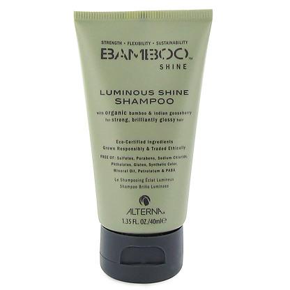 Alterna Bamboo Luminous Shine Shampoo - Шампунь для сияния и блеска волос 40 мл (безсульфатный)46020.IОрганическое масло Индийского Крыжовника и экстракт бамбука, входящие в состав шампуня Bamboo Luminous Shine Shampoo помогут оптимально увлажнить и укрепить волосы, делая их гладкими, сильными и шелковистыми. Технология Color Hold® позволит Вашим окрашенным волосам дольше сохранять цвет, не вымывая его. Идеально подходит для светлых волос.Результат: Очищает волосы без использования сульфатов. Оптимально увлажняет волос. Укрепляет волосы, закладывает основу для гладких и здоровых волос. Сохраняет яркость цвета окрашенных и натуральных волос. Улучшает внешний вид волос. Разглаживает волосы, придает им гладкость и блеск.