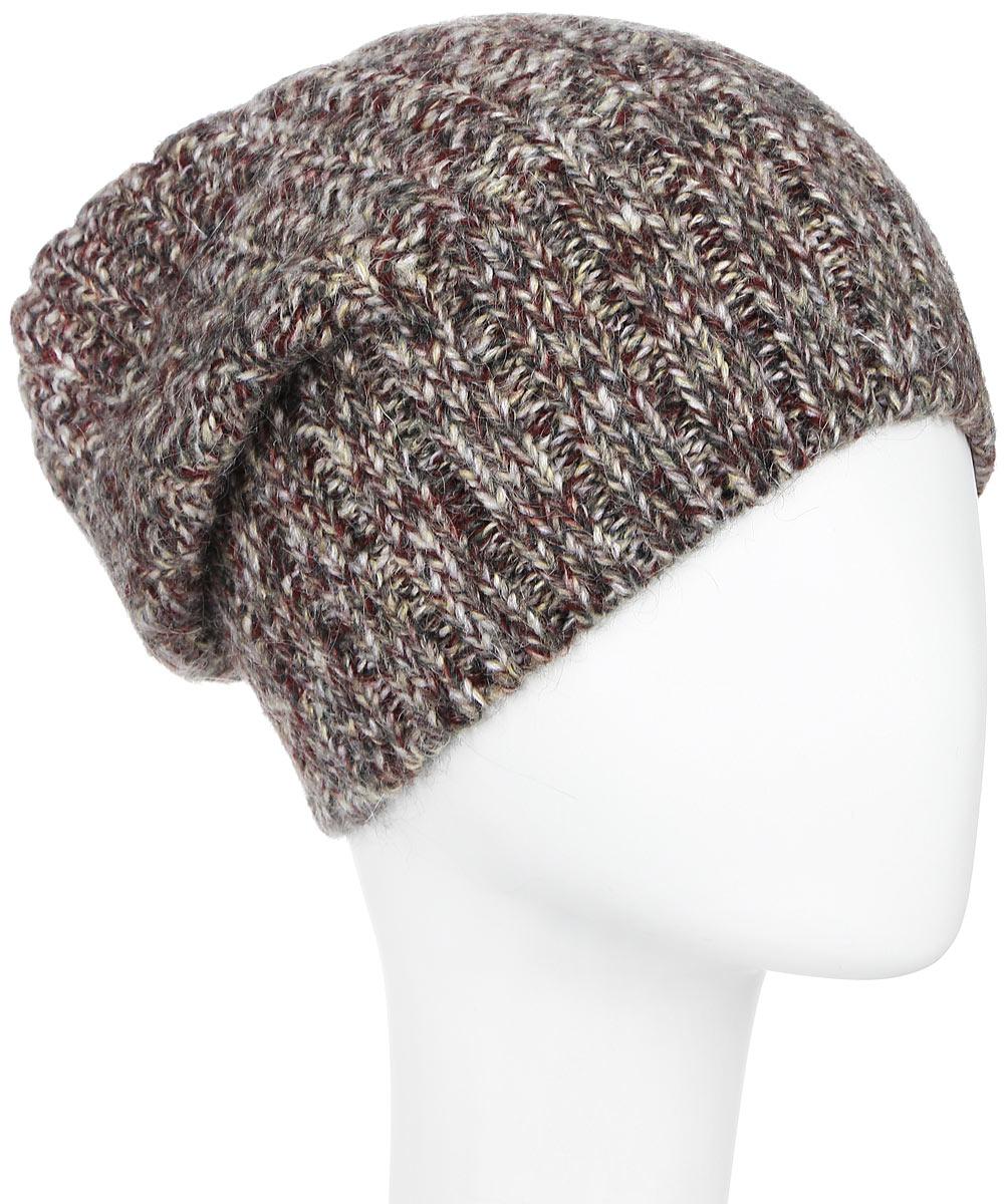 Шапка женская Dispacci, цвет: коричневый, мультиколор. 21117M. Размер универсальный21117MСтильная женская шапка Dispacci, изготовленная из мягкой итальянской пряжи смешанного состава, она обладает хорошими дышащими свойствами и хорошо удерживает тепло. Элегантная шапка немного удлиненная и свободная в макушке оформлена крупной вязкой. Практичная форма модели делает ее очень комфортной, а маленькая аккуратная металлическая пластина с названием бренда подчеркивает ее оригинальность.