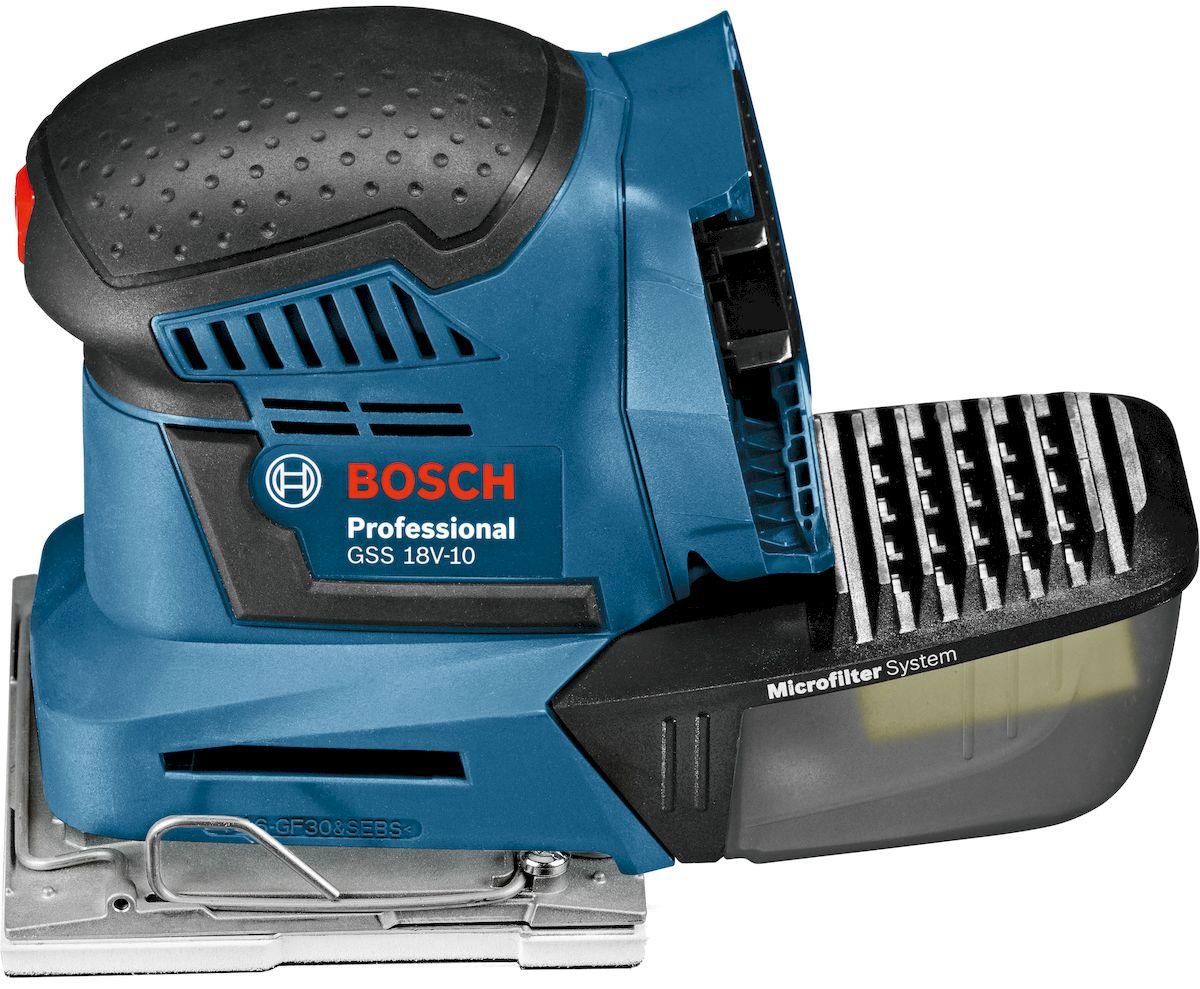 Виброшлифмашина Bosch GSS 18V-10, без аккумулятора и зарядного устройства, цвет: синий. 06019D0200GSS 18V-10Первая аккумуляторная ручная виброшлифмашина Bosch GSS 18V-10 отличается широким спектром возможностей применения, благодаря съемным шлифовальным платформам. Прочная металлическая шлифовальная платформа и простая в использовании зажимная система увеличивают срок службы инструмента. А удобный в использовании микрофильтр облегчает извлечение пыли. Версия без АКБ и ЗУ - подходят аккумуляторы от любого синего инструмента Bosch серии 18V.Напряжение- 18 В.Частота колебаний - 22000 кол/мин.Амплитуда колебаний - 1,6 мм.Шлифплатформа 1/4 А4-113 х 101, шлифплатформа 1/6 А4-80 х 130, шлифплатформа дельта- 100 х 150.
