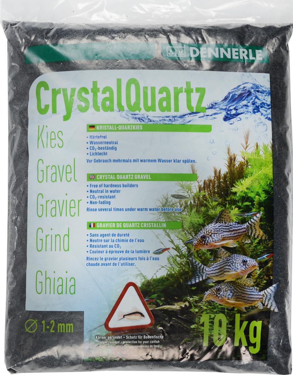 Грунт для аквариума Dennerle Kristall-Quarz, натуральный, цвет: черный, 1-2 мм, 10 кг натуральный грунт для аквариумов udeco river светлый гравий 2 5 5 мм 2 л