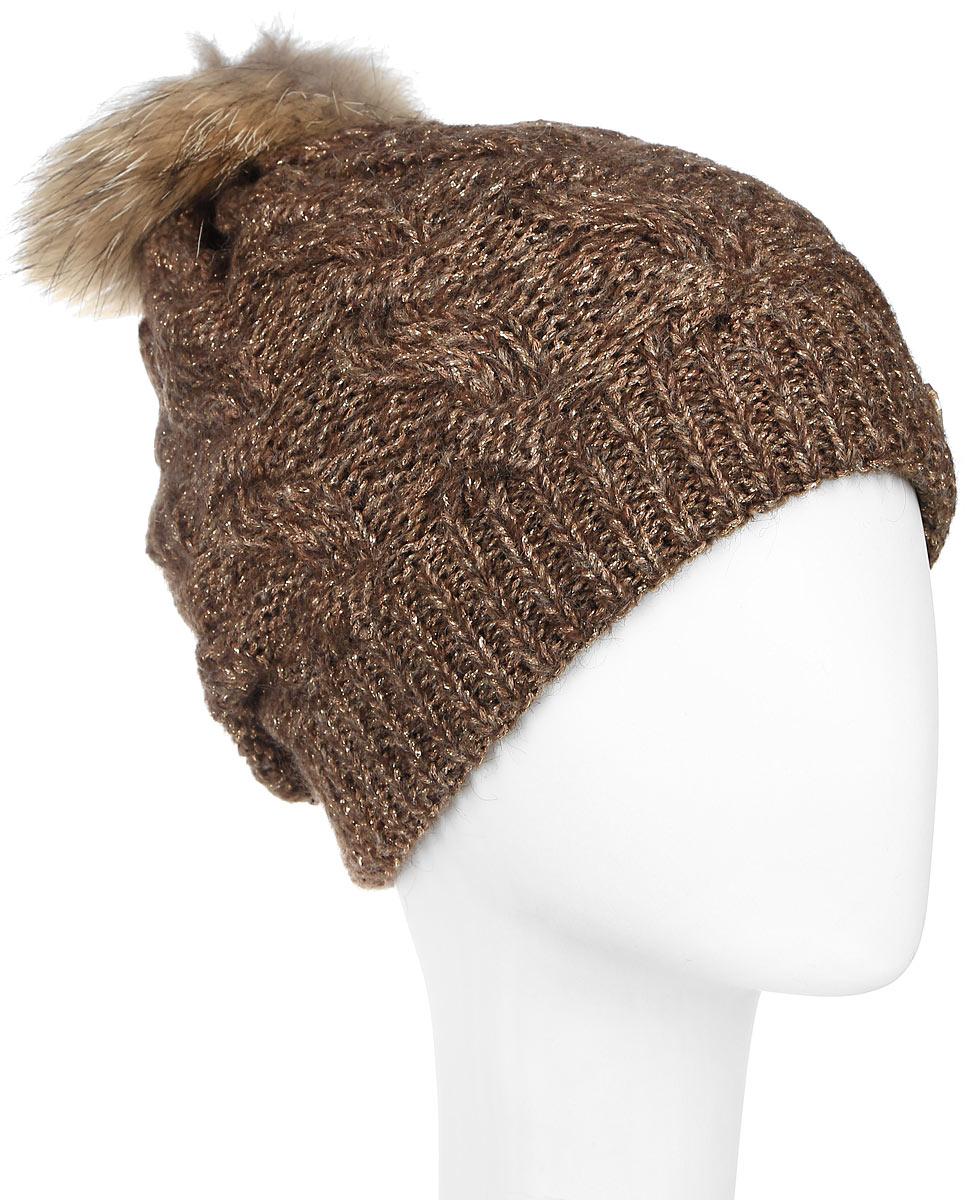 Шапка женская Dispacci, цвет: коричневый. 21111S. Размер универсальный шапки mialt шапка