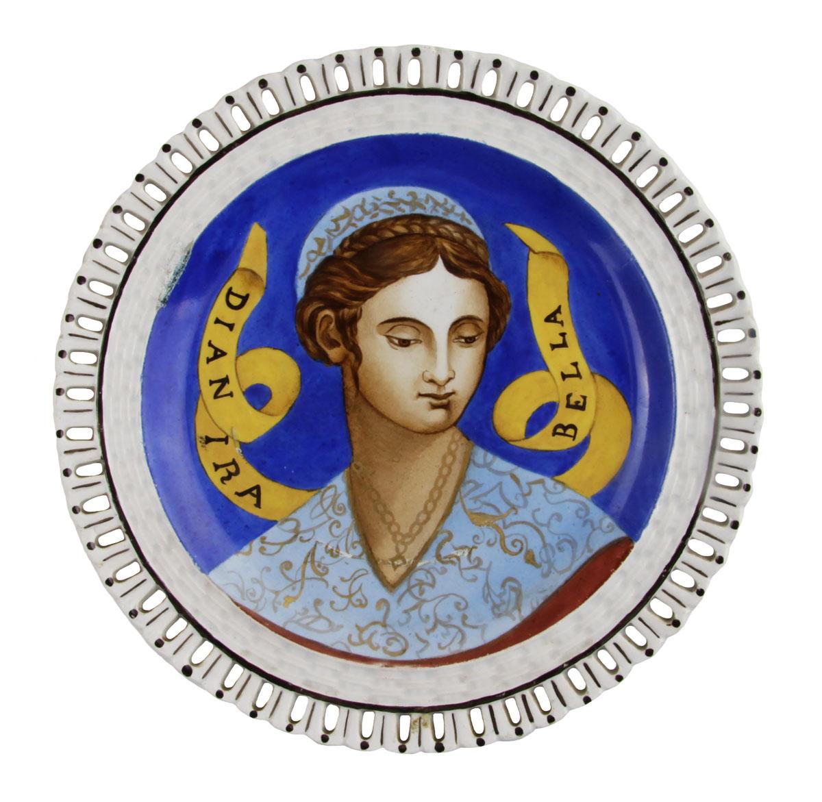 Тарелка Прекрасная незнакомка. Фарфор, роспись. Luneville, Франция, начало XX века
