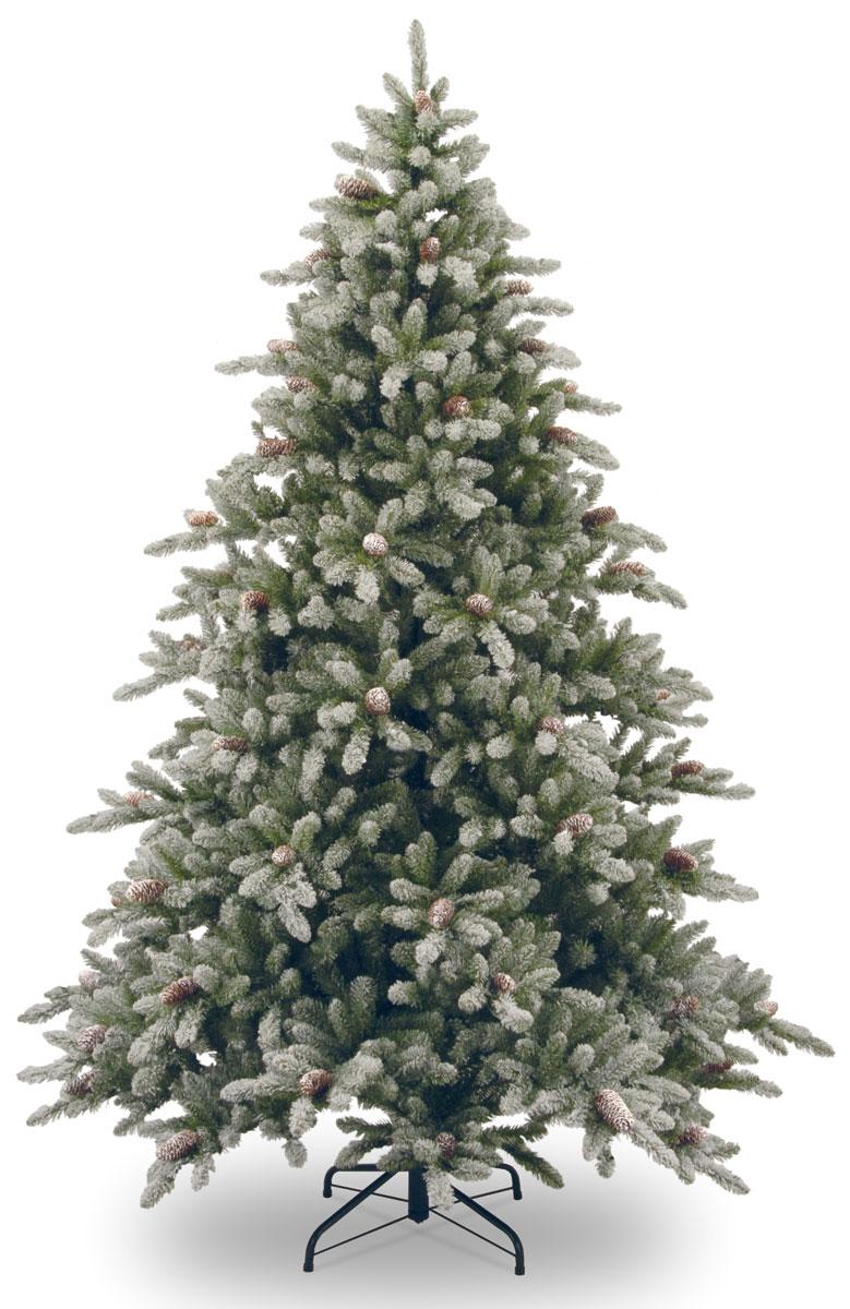 Ель искусственная  Snowy Concolor Med Cones, с шишками, заснеженная, цвет: зеленый, белый, коричневый, высота 183 см ель данхилл высота 183 см цвет светло зеленый