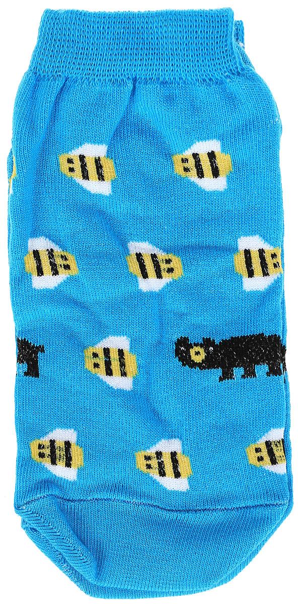 Носки женские Big Bang Socks Медведь и пчела, цвет: голубой. s2222. Размер 35/39s2222Яркие женские носки Big Bang Socks Медведь и пчела изготовлены из высококачественного хлопка с добавлением полиамидных и эластановых волокон, которые обеспечивают великолепную посадку. Носки отличаются ярким стильным дизайном. Удобная резинка идеально облегает ногу и не пережимает сосуды, а укороченный паголенок придает более эстетичный вид.
