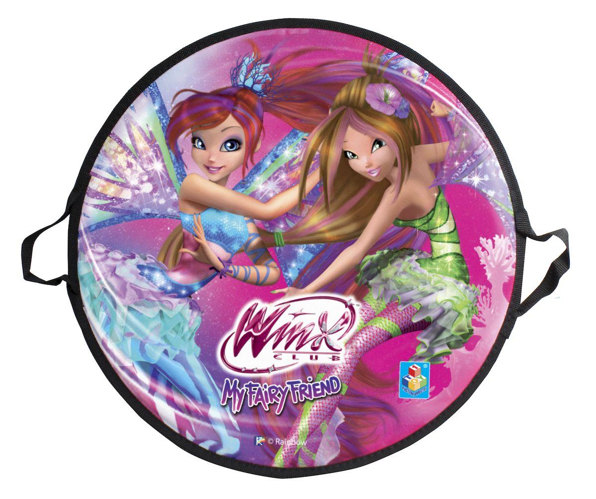 Ледянка 1toy Winx, 52 смТ58471Круглая ледянка 1toy Winx подойдет для любителей зимних спортивных развлечений. Выполнена из ПВХ.Ледянка имеет 2 ручки для удобства. На лицевой стороне имеется изображение с героями любимого мультфильма.