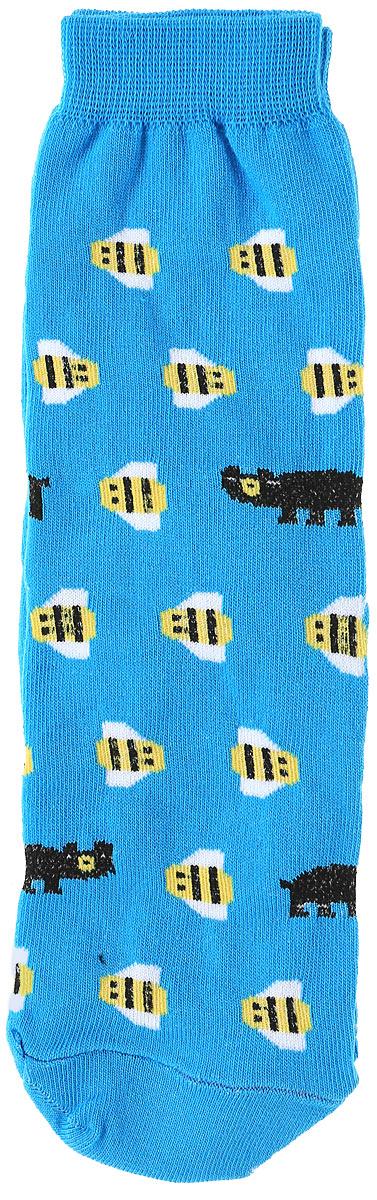 Носки женские Big Bang Socks Медведь и пчела, цвет: голубой. s2221. Размер 35/39s2221Яркие женские носки Big Bang Socks Медведь и пчела изготовлены из высококачественного хлопка с добавлением полиамидных и эластановых волокон, которые обеспечивают великолепную посадку. Носки отличаются ярким стильным дизайном. Удобная резинка идеально облегает ногу и не пережимает сосуды.