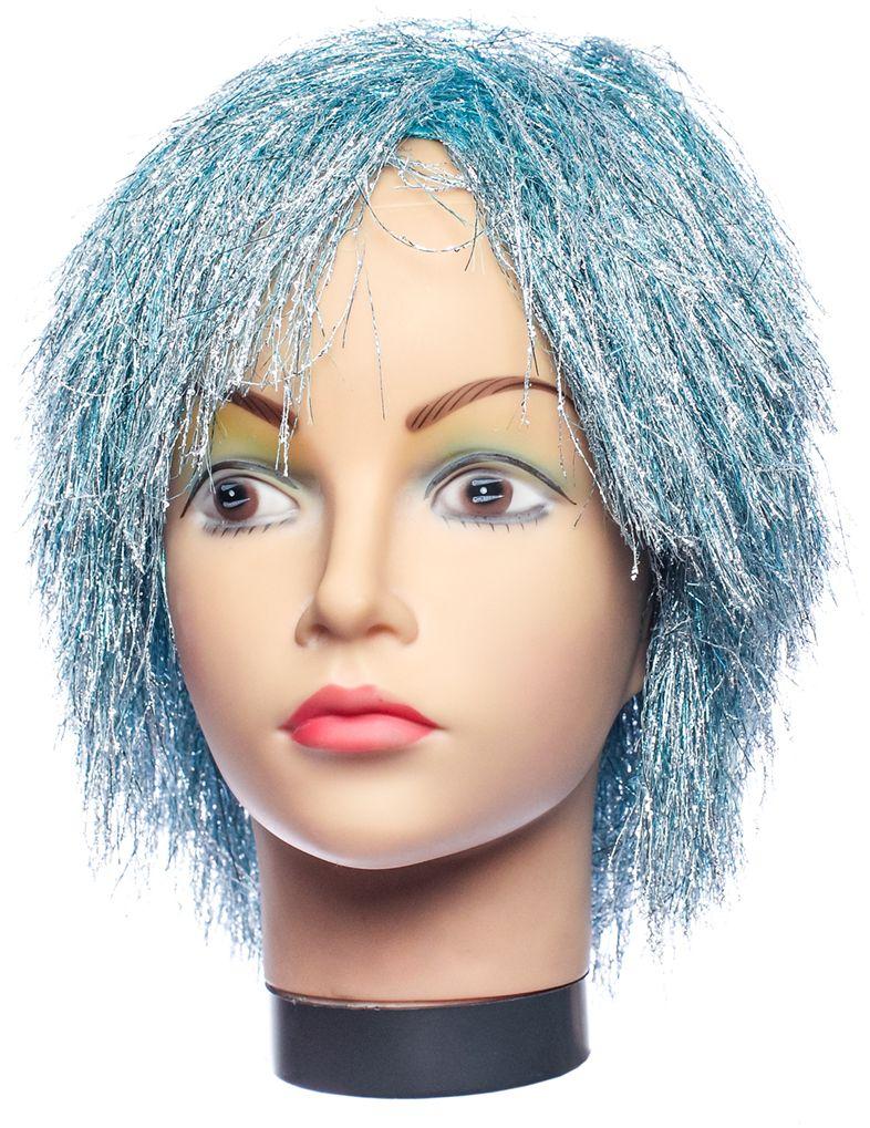 Rio Парик карнавальный цвет металлик, голубой 5044 - Парики