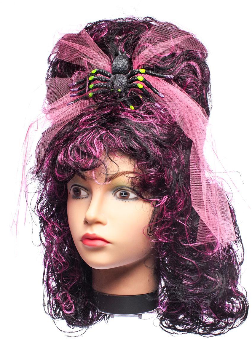 Rio Парик карнавальный цвет черный, темно-розовый 5365 - Парики