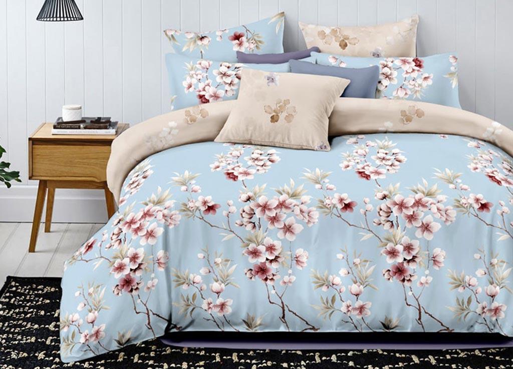 Комплект белья Primavera Classic Ветка сакуры, евро, наволочки 70х70, цвет: голубой комплект белья primavera classic брасика 1 5 спальный наволочки 70x70 цвет серый