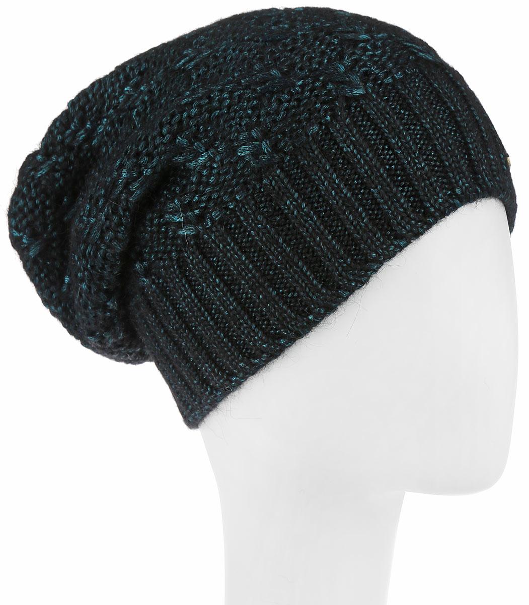 Шапка женская Dispacci, цвет: черный, темно-бирюзовый. 21104F. Размер универсальный21104FСтильная женская шапка Dispacci, изготовленная из мягкой пряжи смешанного состава, она обладает хорошими дышащими свойствами и хорошо удерживает тепло. Элегантная шапка оформлена крупной вязкой с узорами по низу выполнена вязаной резинкой. Практичная форма шапки делает ее очень комфортной, а маленькая аккуратная металлическая пластина с названием бренда подчеркивает ее оригинальность.