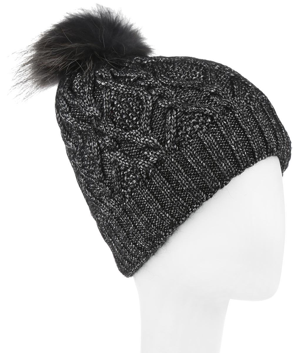 Фото Шапка женская Dispacci, цвет: черный, серый. 21105F. Размер универсальный