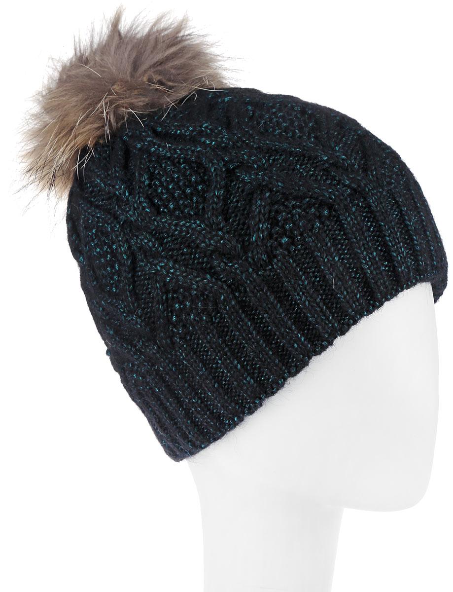 Шапка женская Dispacci, цвет: черный, бирюзовый. 21105F. Размер универсальный21105FСтильная женская шапка Dispacci, изготовленная из мягкой пряжи смешанного состава с оригинальным напылением, она обладает хорошими дышащими свойствами и хорошо удерживает тепло. Элегантная шапка оформлена крупной вязкой с узорами и дополнена помпоном из натурального меха. Практичная форма шапки делает ее очень комфортной, а маленькая аккуратная металлическая пластина с названием бренда подчеркивает ее оригинальность.