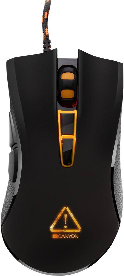 Canyon Fobos игровая мышь (CND-SGM3)CND-SGM3Заставь своих врагов дрожать от страха! Мышь Canyon Fobos с высокоточным оптическим сенсором позволяет играть эффективно, а побеждать — эффектно!Благодаря 7 программируемым кнопкам, оптике нового поколения и быстрому переключению разрешения, эта мышь очень легко адаптируется под ваш личный игровой стиль.Работа сенсора до 6000 снимков в секунду и повышенная до 1000 Гц частота позволяют делать плавные и предсказуемые замедления и ускорения объекта в игровом пространстве.Мгновенная и прицельная реакция в игре на больших мониторах, либо на нескольких экранах! Оптический сенсор нового поколения Sunplus позволяет быстро переключаться между уровнями разрешения - 800, 1600, 2400, 3500 DPI. Кроме того, с помощью драйвера можно подобрать любое персональное значение DPI.Кабель в оплетке и ферритовый фильтр подавляют высокочастотные помехи и обеспечивают бесперебойность сигнала. С мышью Fobos ничто не способно помешать динамике вашей игры!Адаптируйте мышь специально под вашу игру и игровой стиль. Побеждайте эффектно и эффективно! Назначайте макросы и программируйте назначения кнопок под любую игровую задачу.Все ваши пользовательские настройки сохраняются в виде профиля игрока. Внутренний модуль памяти мышки позволяет сохранять и переносить на другой компьютер настройки одного такого профиля. А в отдельный файл можно импортировать бесконечное количество профилей игроков! Переносите персональные настройки и играйте на любом компьютере!